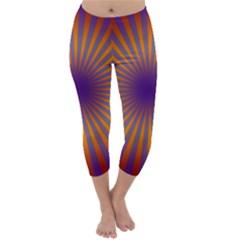 Retro Circle Lines Rays Orange Capri Winter Leggings
