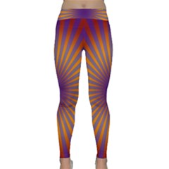 Retro Circle Lines Rays Orange Classic Yoga Leggings