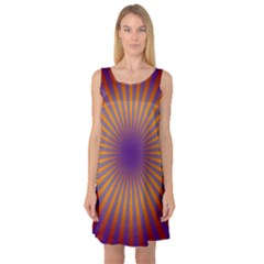 Retro Circle Lines Rays Orange Sleeveless Satin Nightdress