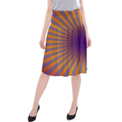 Retro Circle Lines Rays Orange Midi Beach Skirt