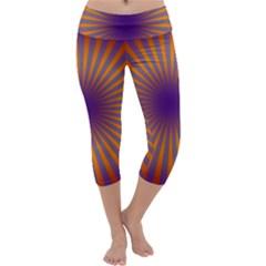 Retro Circle Lines Rays Orange Capri Yoga Leggings