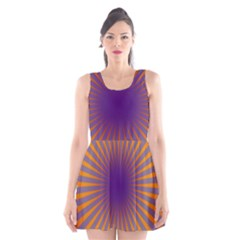 Retro Circle Lines Rays Orange Scoop Neck Skater Dress