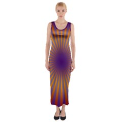 Retro Circle Lines Rays Orange Fitted Maxi Dress