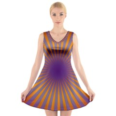 Retro Circle Lines Rays Orange V Neck Sleeveless Skater Dress