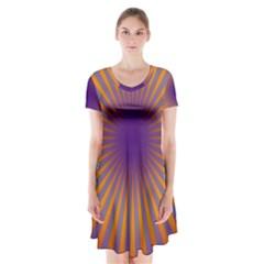 Retro Circle Lines Rays Orange Short Sleeve V-neck Flare Dress