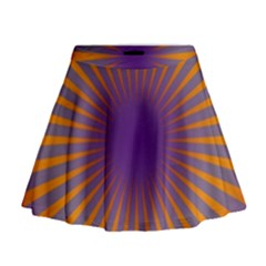 Retro Circle Lines Rays Orange Mini Flare Skirt