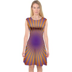 Retro Circle Lines Rays Orange Capsleeve Midi Dress