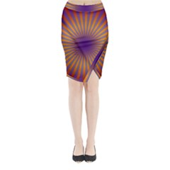 Retro Circle Lines Rays Orange Midi Wrap Pencil Skirt