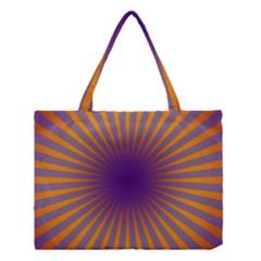 Retro Circle Lines Rays Orange Medium Tote Bag