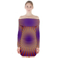 Retro Circle Lines Rays Orange Long Sleeve Off Shoulder Dress