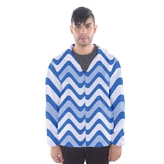 Waves Wavy Lines Pattern Design Hooded Wind Breaker (men)