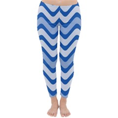 Waves Wavy Lines Pattern Design Classic Winter Leggings