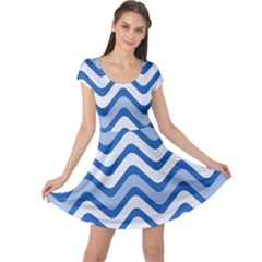 Waves Wavy Lines Pattern Design Cap Sleeve Dresses