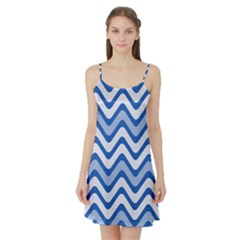 Waves Wavy Lines Pattern Design Satin Night Slip