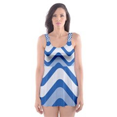 Waves Wavy Lines Pattern Design Skater Dress Swimsuit