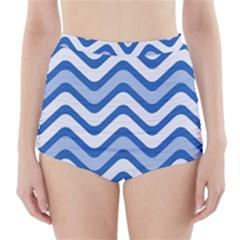 Waves Wavy Lines Pattern Design High-Waisted Bikini Bottoms