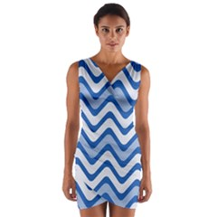 Waves Wavy Lines Pattern Design Wrap Front Bodycon Dress