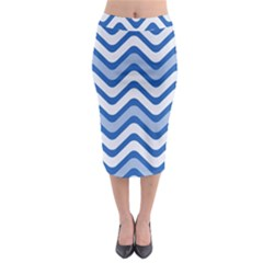 Waves Wavy Lines Pattern Design Midi Pencil Skirt