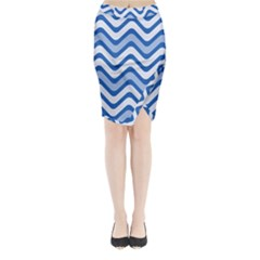 Waves Wavy Lines Pattern Design Midi Wrap Pencil Skirt