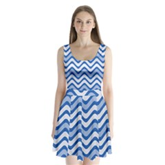 Waves Wavy Lines Pattern Design Split Back Mini Dress