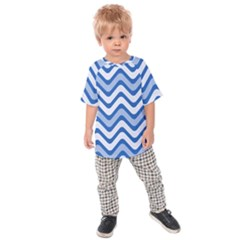 Waves Wavy Lines Pattern Design Kids  Raglan Tee