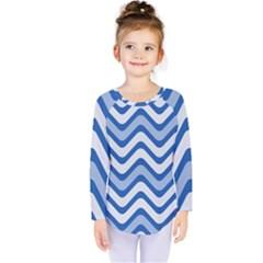 Waves Wavy Lines Pattern Design Kids  Long Sleeve Tee