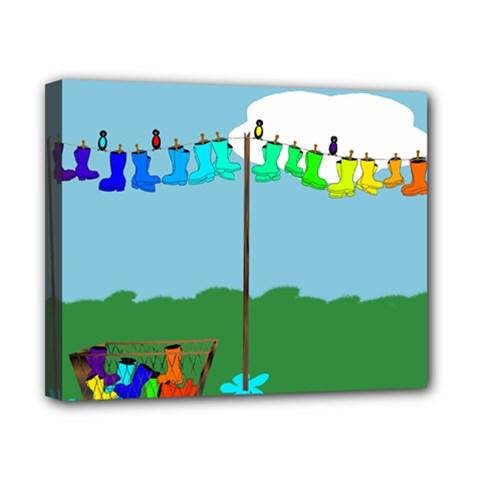 Welly Boot Rainbow Clothesline Canvas 10  x 8
