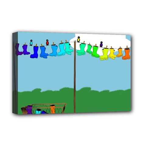 Welly Boot Rainbow Clothesline Deluxe Canvas 18  X 12