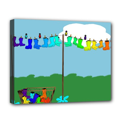 Welly Boot Rainbow Clothesline Deluxe Canvas 20  x 16