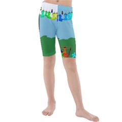 Welly Boot Rainbow Clothesline Kids  Mid Length Swim Shorts