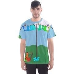 Welly Boot Rainbow Clothesline Men s Sport Mesh Tee