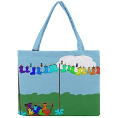 Welly Boot Rainbow Clothesline Mini Tote Bag