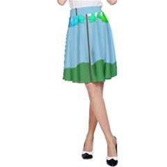 Welly Boot Rainbow Clothesline A-Line Skirt