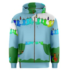 Welly Boot Rainbow Clothesline Men s Pullover Hoodie