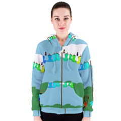 Welly Boot Rainbow Clothesline Women s Zipper Hoodie