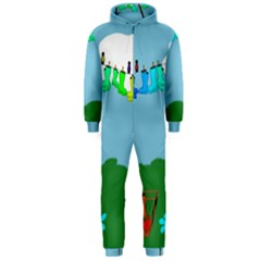 Welly Boot Rainbow Clothesline Hooded Jumpsuit (Men)