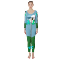 Welly Boot Rainbow Clothesline Long Sleeve Catsuit