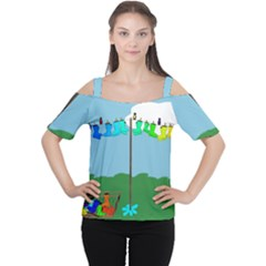 Welly Boot Rainbow Clothesline Women s Cutout Shoulder Tee