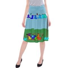 Welly Boot Rainbow Clothesline Midi Beach Skirt