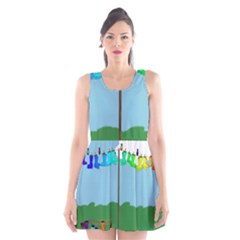 Welly Boot Rainbow Clothesline Scoop Neck Skater Dress
