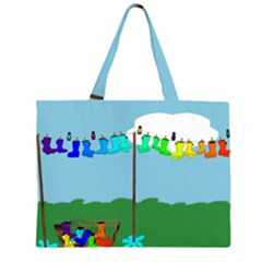 Welly Boot Rainbow Clothesline Zipper Large Tote Bag
