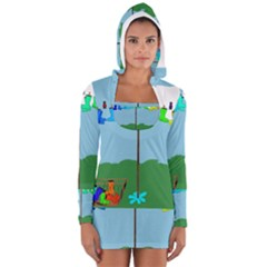 Welly Boot Rainbow Clothesline Women s Long Sleeve Hooded T Shirt