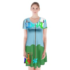 Welly Boot Rainbow Clothesline Short Sleeve V Neck Flare Dress