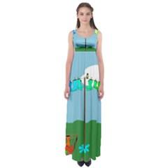 Welly Boot Rainbow Clothesline Empire Waist Maxi Dress