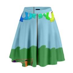 Welly Boot Rainbow Clothesline High Waist Skirt
