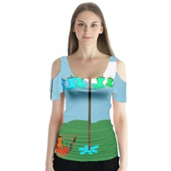 Welly Boot Rainbow Clothesline Butterfly Sleeve Cutout Tee