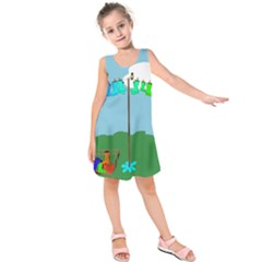 Welly Boot Rainbow Clothesline Kids  Sleeveless Dress