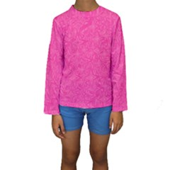Geometric Pattern Wallpaper Pink Kids  Long Sleeve Swimwear