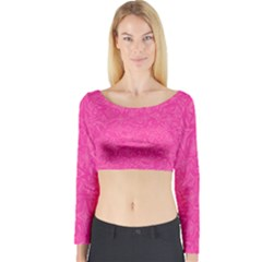 Geometric Pattern Wallpaper Pink Long Sleeve Crop Top