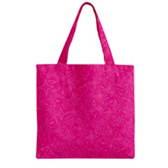 Geometric Pattern Wallpaper Pink Zipper Grocery Tote Bag